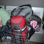 Travel gear in bus station