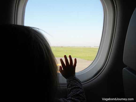 Child flying on an airplane