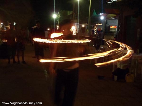 Hula Hoop fire dancing