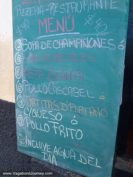 Menu in Mexican restaurant