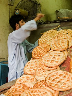 Freshly baked nan bread in the bazaar in Peshawar