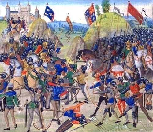 Battle of Crecy from a 15th-century illuminated manuscript of Jean Froissart's Chronicles