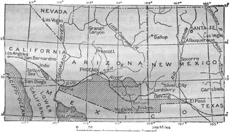 Map of the Gadsden Purchase and the Southern Pacific Railway