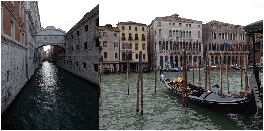 On the left, the famous Bridge of Sighs