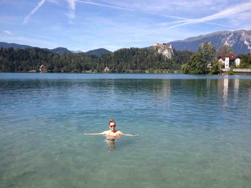 Swimming in Lake Bled, Slovenia