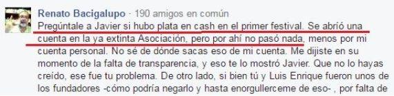 Los documentos a los que alude Sandoval en esta conversación son justamente las dos rendiciones que aquí presentamos (Fuente: Facebook de Bruno Pólack).