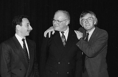 Charles Wright (right) with John Ashbery (center) and Joe Parisi (left), 1992