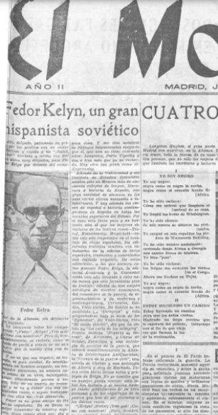 """Detalle de un artículo sobre Fédor Kelin, publicado en """"El Mono Azul"""", 19 de agosto de 1937, p. 1 (Cortesía de la Biblioteca Nacional de España). Archivo de los autores."""