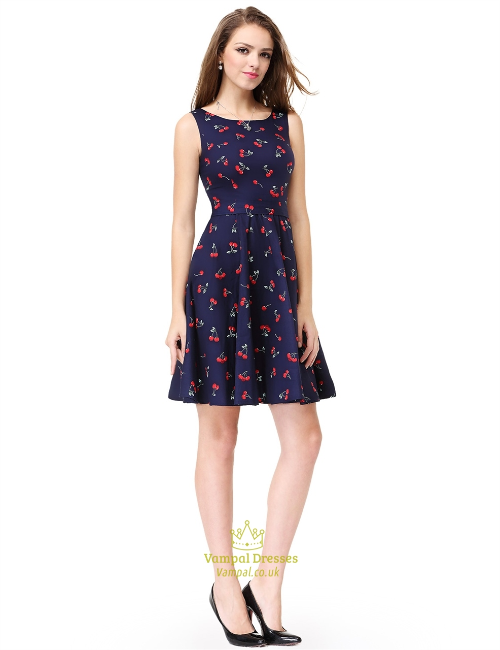 Lovely Flare Cocktail Dress Womens Cherry Print Sleeveless Round Neck Fit Womens Cherry Print Sleeveless Round Neck Fit Flare Cocktail Womens Cocktail Dresses Canada Womens Cocktail Dresses Online Aus wedding dress Womens Cocktail Dresses