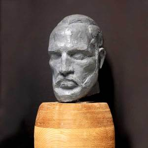 Self-portrait in clay by Riley Baechler, Vancouver Sculpture Studio