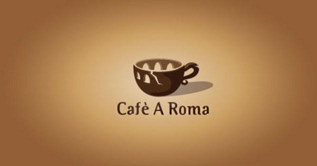 Cafe A Roma clever logo design