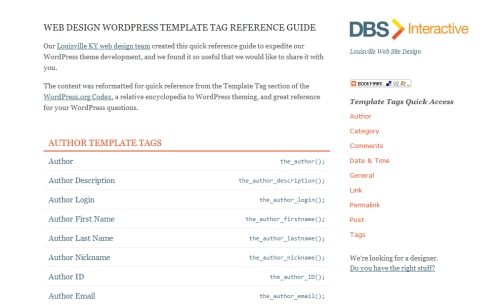 WordPress Template Tag Reference Guide
