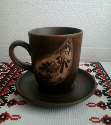 Чашка из красной глины Ангоб на блюдце