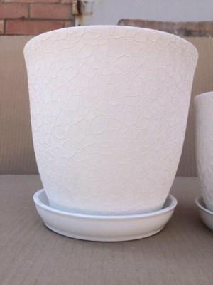 цветочный горшок Глория шелкография белый 2