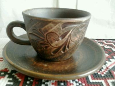 Чашка кофе ангоб на блюдце 13,5 см
