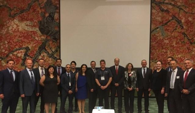 Avi Hasson, Chief Scientist of the State of Israel; Ruth Kahanoff, Ambassador to Japan; Ken Harada, Economic Attache (Osaka); Noa Asher, Economic Attache (Tokyo) and eleven Israeli IoT startups
