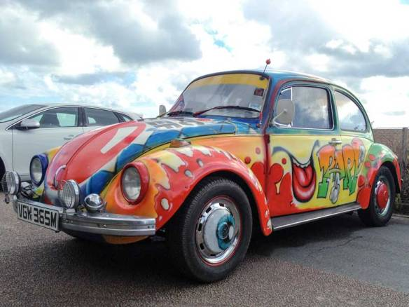 funky comic relief graffiti style paint job on this Beetle