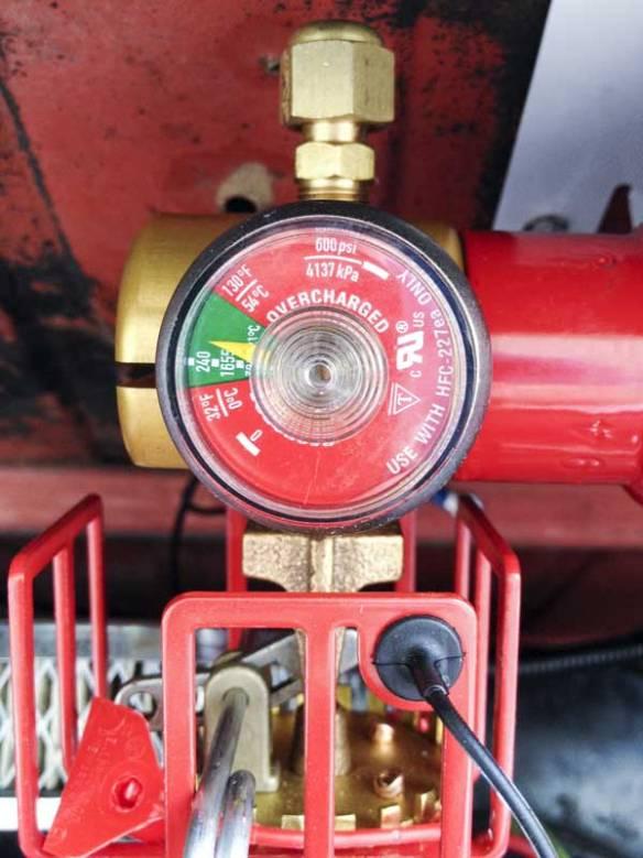 engine bay fire suppression system pressure gauge (240psi, 360º dispersal)