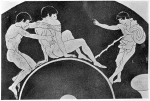 Roman_pot_representing_youth_massaging_back_of_friend;_430_BC_Wellcome_L0022818