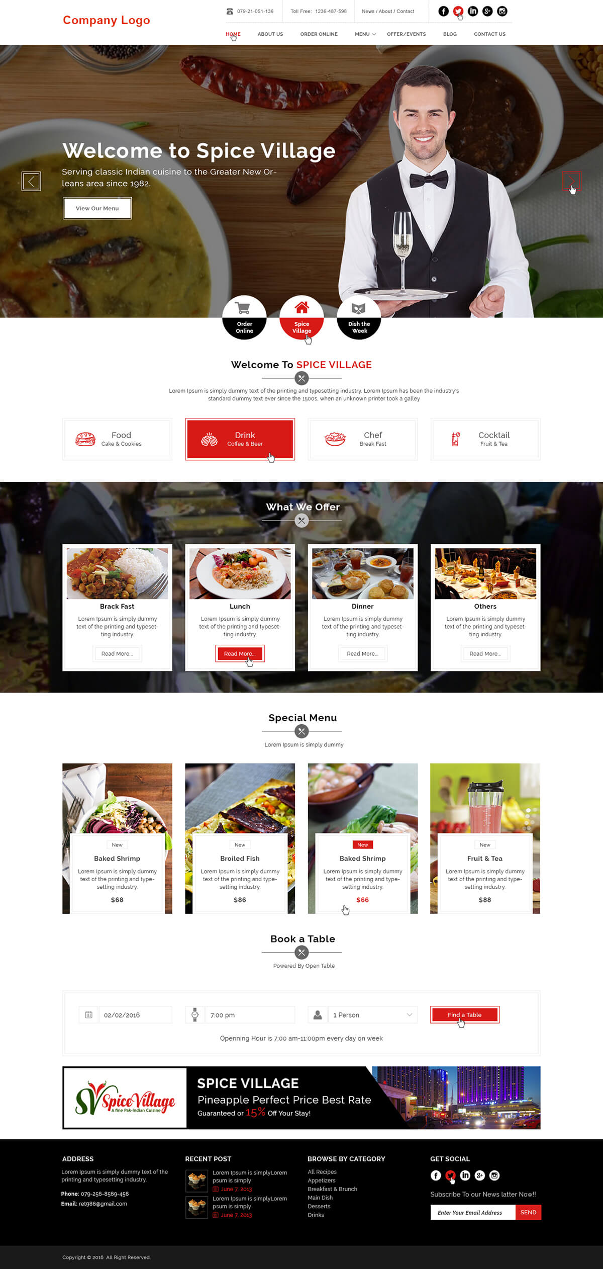 Food and Restaurant Website Template | Ved Web Services