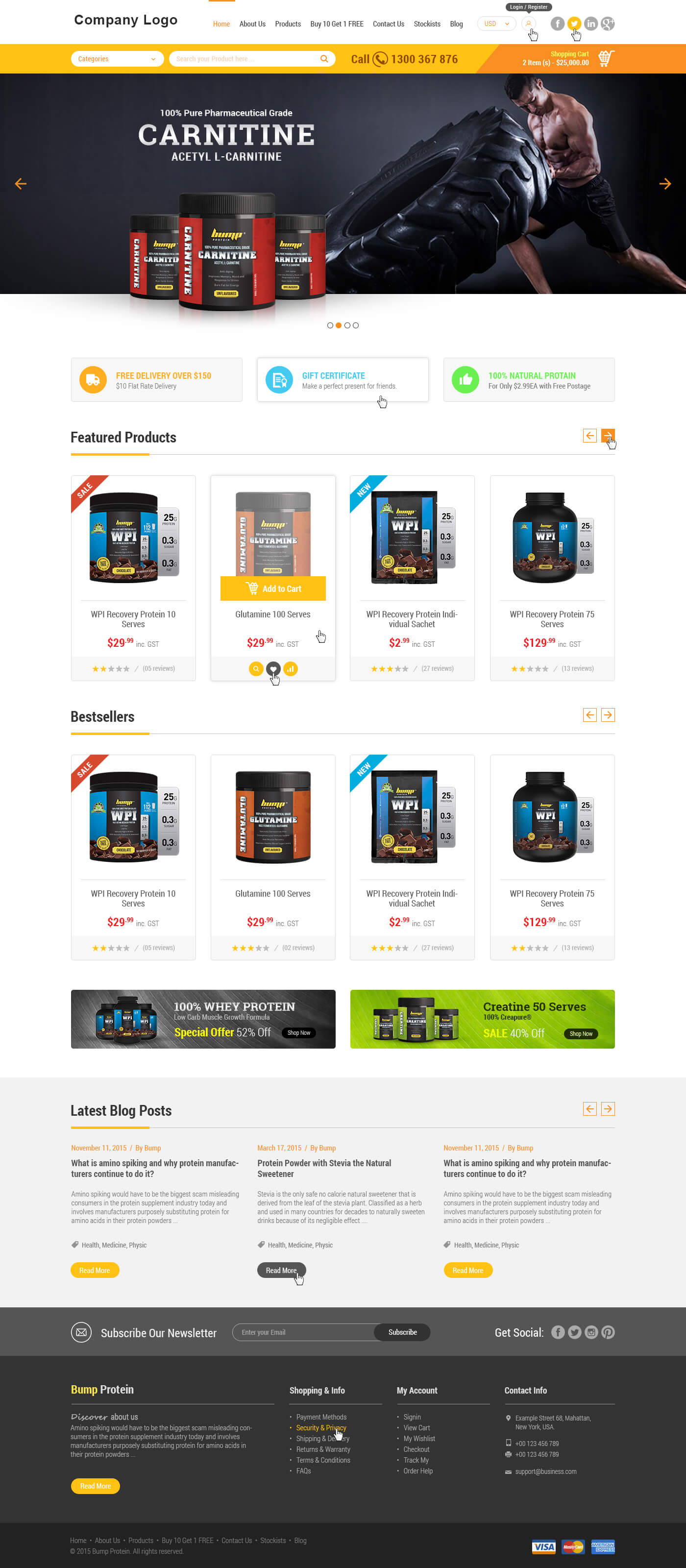 Health & Nutrition Online Store Website Template | Ved Web Services