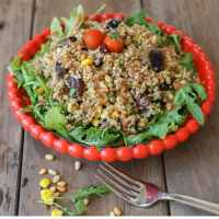 Summer Steel Cut Oat Salad with Maple Miso Balsamic Dressing