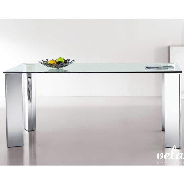 Mesa para comedor cristal transparente vela muebles - Encimera de acero inoxidable ...