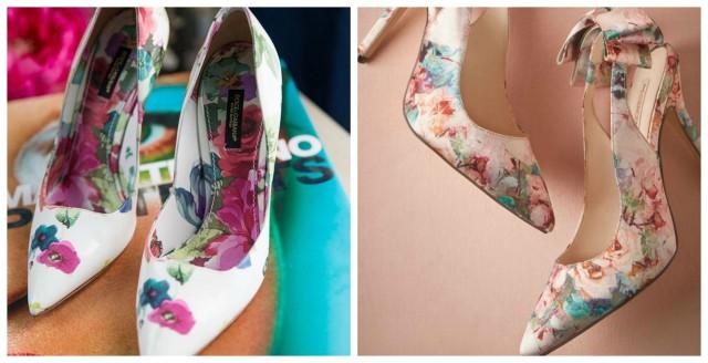 zapatos florales collage