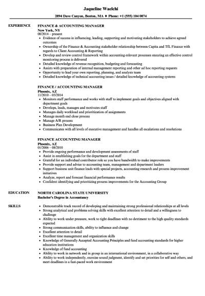 Finance & Accounting Manager Resume Samples | Velvet Jobs