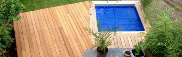 Mini piscine et terrasse en mélèze hors-sol