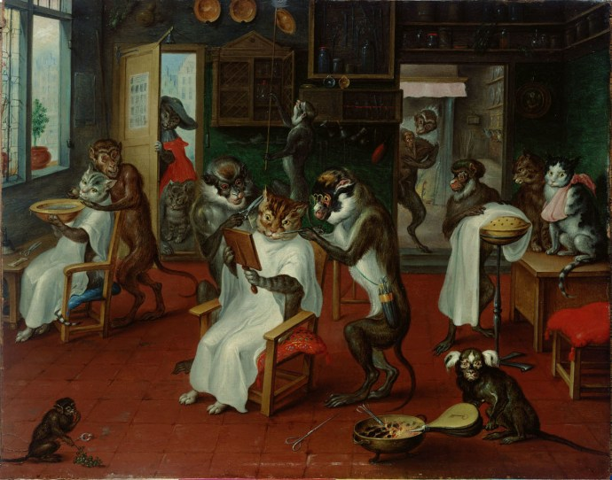 """""""Barber Shop with Monkeys and Cats"""", Abraham Teniers (1629-1670)"""