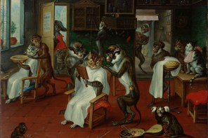 """Barber Shop with Monkeys and Cats"", Abraham Teniers (1629-1670)"
