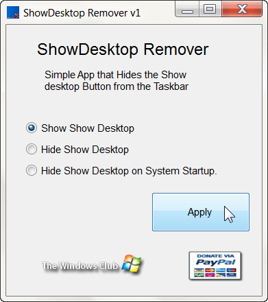 Disable Show Desktop Button in Windows 7
