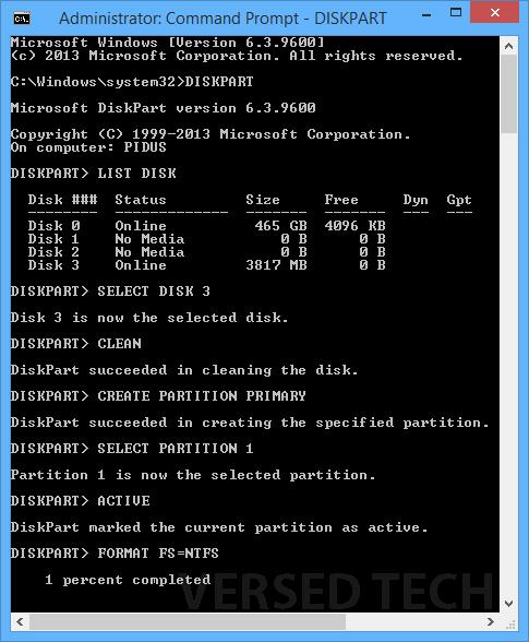 Install Windows 8.1 from USB Drive