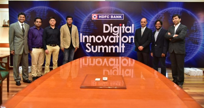 Mr. Nitin Chugh%2c Country Head - Digital Banking (3rd from Right)  with the winners of the Digital Innovation Summit.