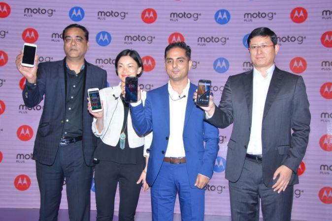 Sudhin Mathur Director - Smartphones, Lenovo India,  Allison Ye,  Director of Product Management at Motorola, Amit Boni, Country Head, Motorola  India and Dillon Ye, Vice President, Lenovo MBG Asia Pacific