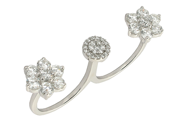 Double finger ring from Anmol Jewellers, encrusted in diamonds.