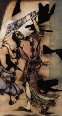 Arachne with Birds', watercolour, charcoal and soft pastel on paper,  Anju Dodiya