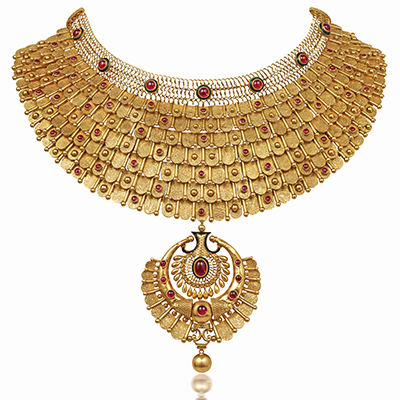 Azva choker with gold beads and coloured stones