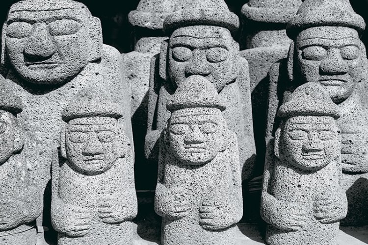 Dol hareubang or 'grandfather' statues;