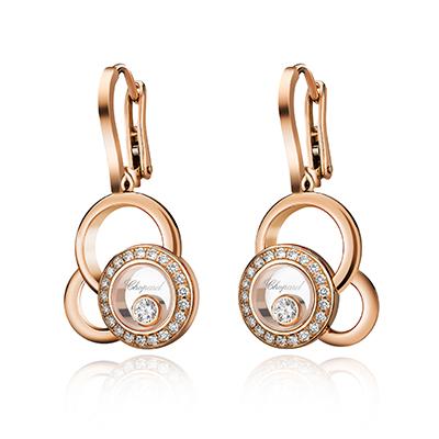Chopard Happy Dreams earrings with diamonds in 18-carat rose gold