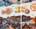 Uncharted Terrains: acrylic, layered silk screen, drawing, tinted varnishes and archival pigment print on canvas by Sonia Mehra Chawla
