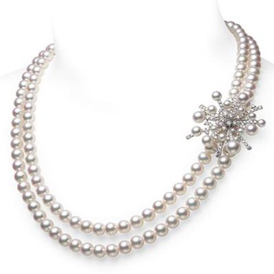 Mikimoto pearl necklace with diamonds