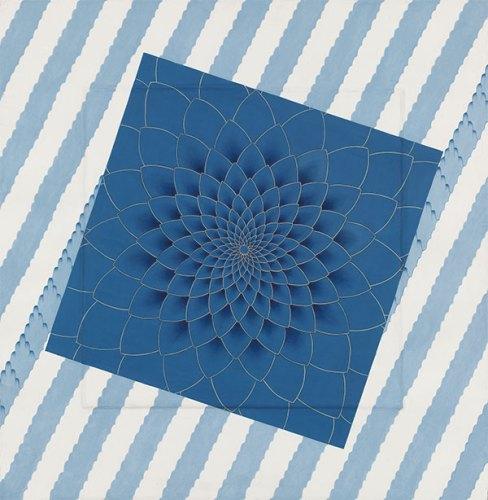 Olivia Fraser, Blue Himalaya, 2015, stone pigment and Arabic gum on handmade Sanganer paper, 66 x 66 cm