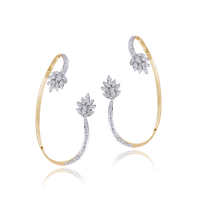 Om Jewellers ear cuffs with diamonds and gold