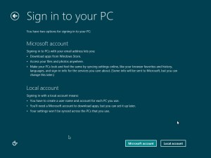 Sign in using a Microsoft account or using a local account