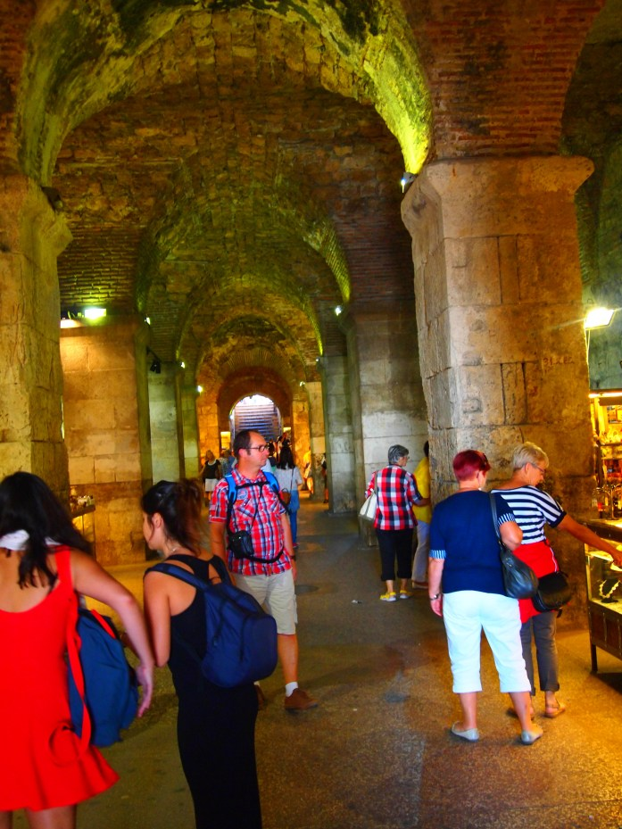 Diocletian's Vaults filled with tourists and vendors
