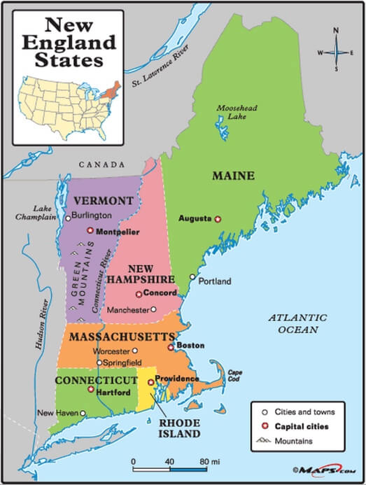 Map of New England (www.maps.com)