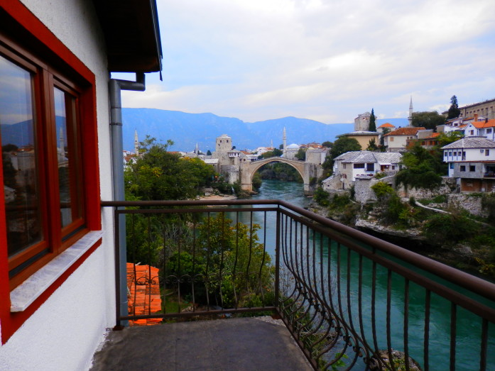 The Stari Most or Mostar's famed Old Bridge, from our balcony