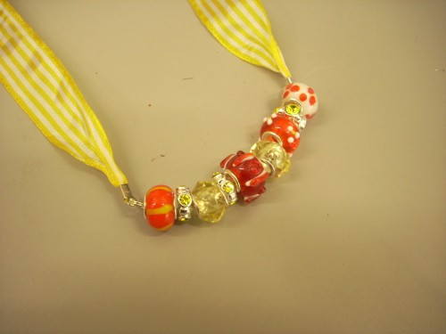 Jewelry Making: Necklace with Large Hole Glass Beads and Ribbon